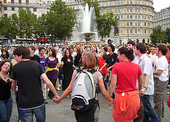 dancing in Trafalgar Square