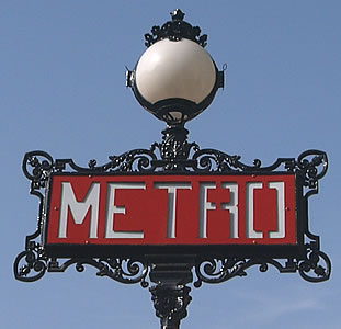 Old style metro entrance sign